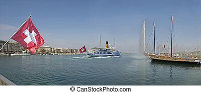 Tour Boat Leaving Geneva Switzerland Harbour - Geneva ...