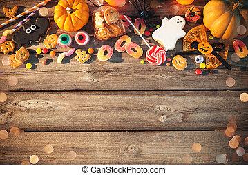 tour, bonbons, halloween., traiter, ou