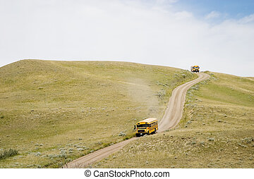 Tour Bus - A yellow tour bus at the Cypress Hills Provincial...