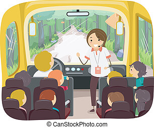 Tour Bus Kids - Illustration of Kids on a Tour Bus Listening...