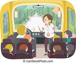 Tour Bus Kids - Illustration of Kids on a Tour Bus Listening...