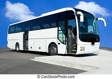 Tour Bus - White Tour Bus with Both Doors Open