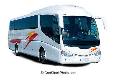 Tour Bus - A Big Tour Bus Isolated on White