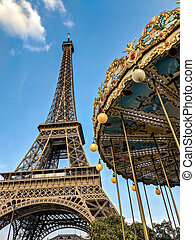 tour, carrousel, eiffel