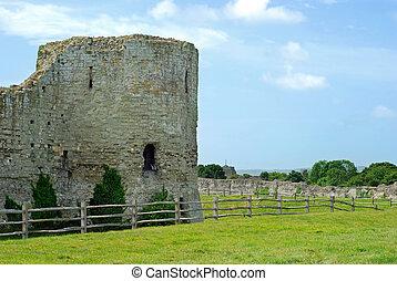 tour, château, pevensey, ruines