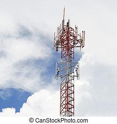tour, ciel, télécommunication, fond