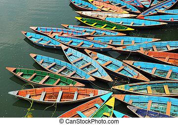 tour, coloré, bateaux