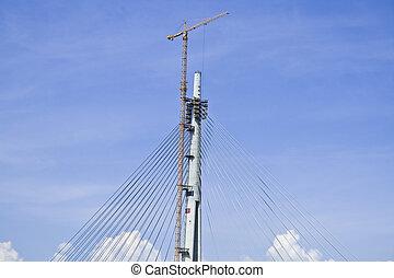 tour, construction, une, pont