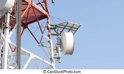 tour, contre, cellulaire, ciel, télécommunication, bleu