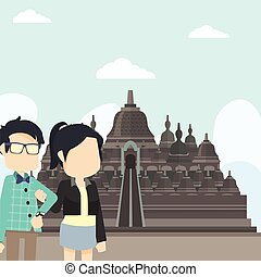 tour couple in borobudur