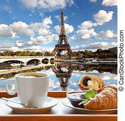 tour, croissants, eiffel, café, paris, france, contre