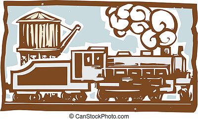 tour eau, locomotive