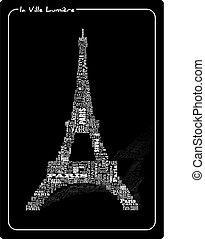 Tour eiffel - abstract tour eiffel with words Paris