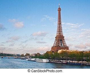 tour eiffel, et, les, rivière, seine., paris., france