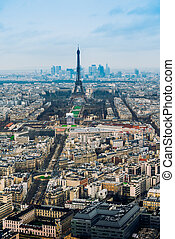tour, eiffel, vue, paris, france