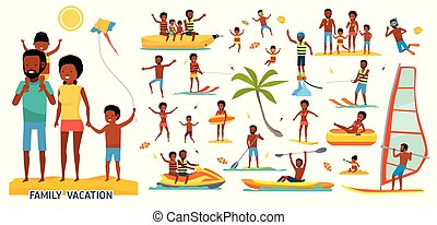 tour., estate, lifestyle., illustration., famiglia, appartamento, family., spiaggia., africano, soleggiato, vacanza, ozio, tropicale, americano, set, vettore, mare, grande, articoli, cartone animato, design.