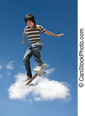 tour, exécuter, skateboard, homme