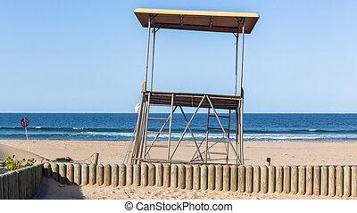 tour, gens, maître nageur, non, océan, plage