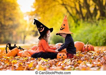 tour, gosses, halloween, traiter, ou