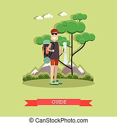 Tour guide vector illustration in flat style