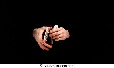 tour magique, arrière-plan noir, kardistri, jeu carte