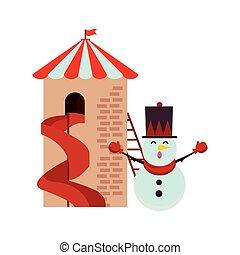 tour, noël, bonhomme de neige, diapo