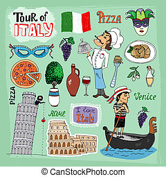 Tour of Italy illustration with landmarks including the leaning Tower of Pisa Venice gondola Colosseum a gondolier chef and food icons of a pizza and pasta wine olives and the Italian flag
