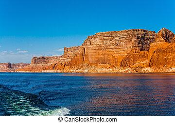 Grandiose cliffs - red sandstone - Tour on a pleasure boat ...