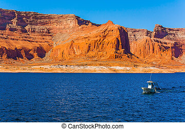 Tour on a pleasure boat on an artificial reservoir Lake ...