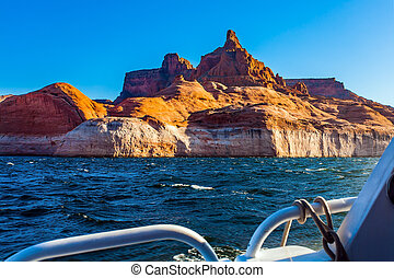 Tour on a pleasure tourist boat on an artificial reservoir ...