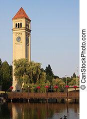 tour, park., riverfront, horloge