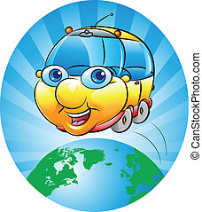 tour round the world - vector illustration of a chubby car ...