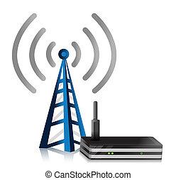 tour, sans fil, illustration, routeur