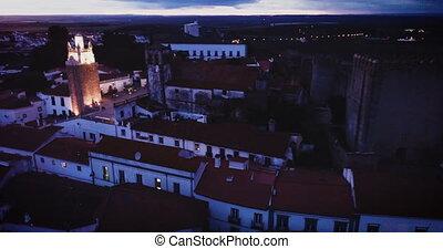 tour, sepra, ville, vue aérienne, horloge, nuit, portugais, ...