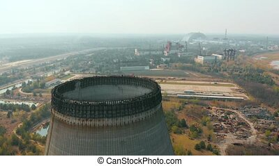 tour, sur, chernobyl, refroidissement, mouches, npp, bourdon