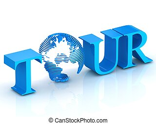 Tour text with globe.