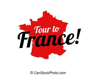 Tour to France - Logo with French Contour Map