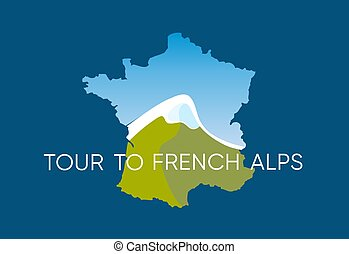 Tour to French Alps - Vector Logo with Mountains