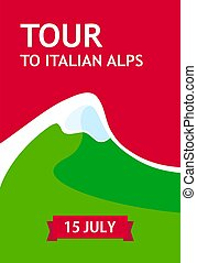 Tour to Italian Alps, Vector Flyer for travel