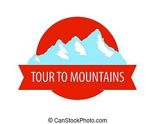 Tour to Mountains - Coat of arm, Round Blazon with rocks.