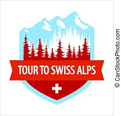 Tour to Swiss Alps - Coat of Arms, Vector blazon illustration with Alpine mountains and forest.