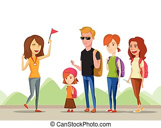 Tour vacation with guide, vector cartoon comic illustration isolated on a mountain background, a group of tourists listening to the history destination.