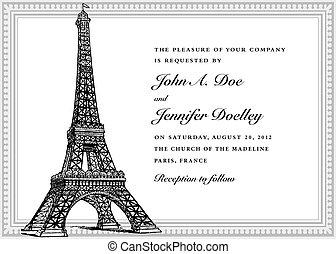 tour, vecteur, mariage, eiffel, invitation