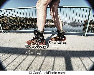 tour, vitesse, essayer, coquille, patineur, rouleau, chemin...