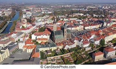 tour, vue, république, hradec, townscape, tchèque, panoramique, kralove, jour, renaissance, gothique, ensoleillé, aérien, horloge, automne, cathédrale