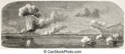 Tourane bay (today Da Nang) bombing by French fleet, China: explosion of eastern fort. Created by Lebreton, published on L'Illustration, Journal Universel, Paris, 1858