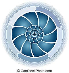 tourbillon, cercle, diagramme