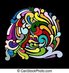 tourbillon, conception abstraite, ton, fond