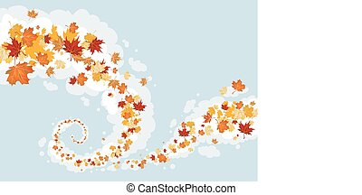 tourbillon, feuilles, ciel