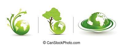 tourbillon, flèche, eco, design., vecteur, illustration., illustration, résumé, la terre